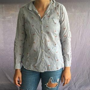 stripped fox pattern blouse